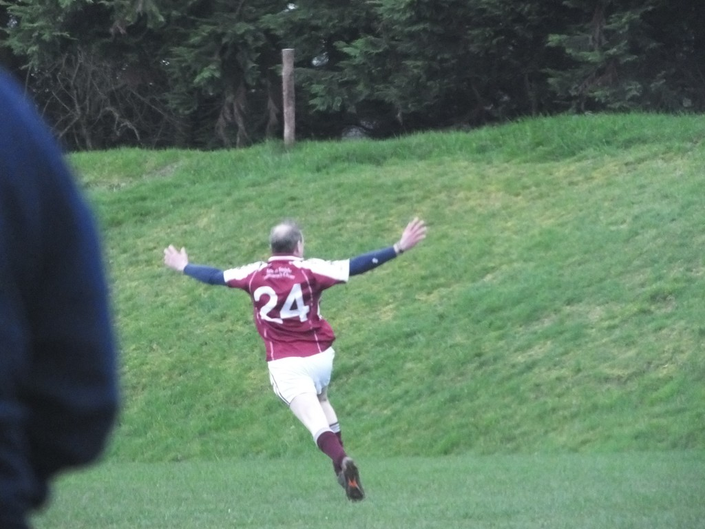 Kieran Byrne celebrates after scoring a goal against Knockananna