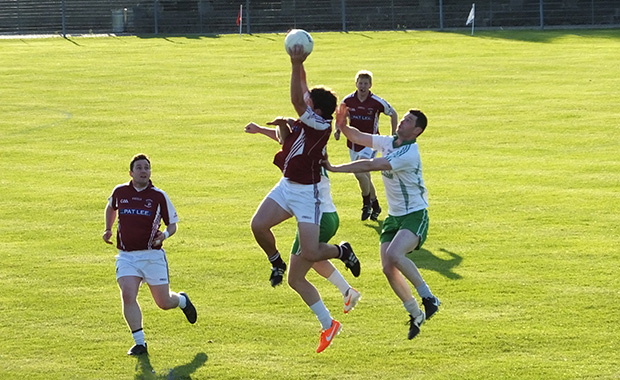 Mikey Mangan wins possession