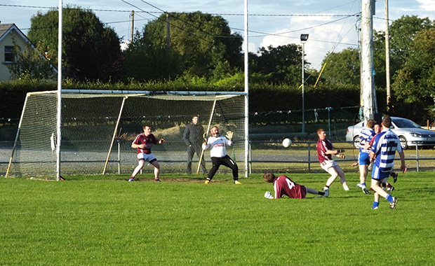 The Stratford Grangecon goal comes under fire from  Blessington