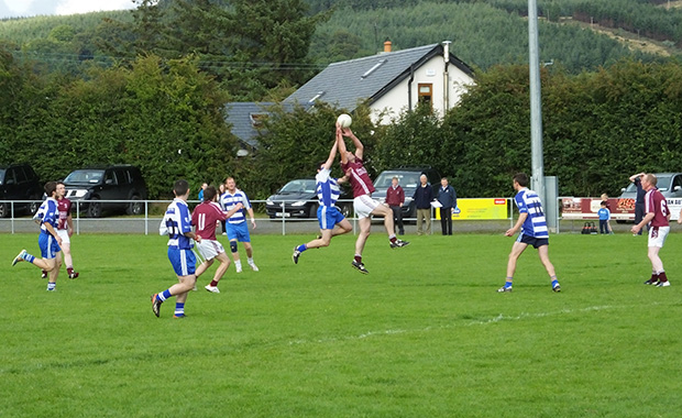 Ger O'Keeffe wins the high ball for Stratford Grangecon