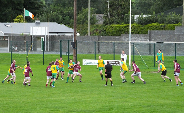 Ger O'Keeffe wins a free kick just outside the square