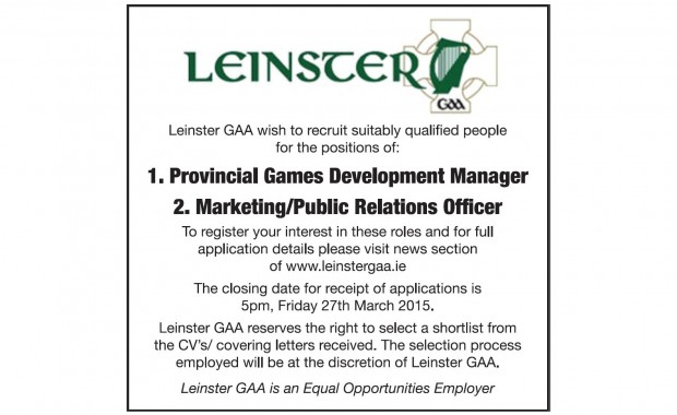 Job opportunities in Leinster GAA